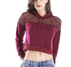 24958ec8b8177a Fishnet mesh cropped hoodie womens wine crop popular spring and fall womens  short style pullover hoodies