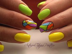 Nail Art Designs and Colors for Summer Neon Nails, Yellow Nails, Love Nails, Fancy Nails, Trendy Nails, Glam Nails, Lines On Nails, Painted Nail Art, Glitter Nail Art