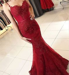 Burgundy Spaghetti Straps Mermaid Prom Dresses, Elegant Backless Evening Gowns with Applioques, Lace Prom Party Dresses, Prom Dresses 2018 dress high heels outfit Straps Prom Dresses, Prom Dresses 2018, Prom Party Dresses, Party Gowns, Dress Prom, Bridesmaid Dresses, Graduation Dresses, Dance Dresses, Wedding Dresses