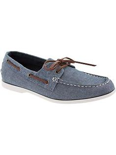 Mens Twill Boat Shoes