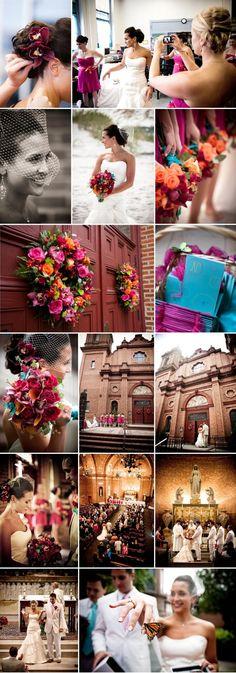 CasieJon part I butterfly wedding church wedding magenta and turquoise rainbow bouquet birdcage veil