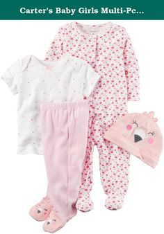Carter's Baby Girls Multi-Pc Sets 126g582, Pink, 6 Months Baby. Carter's Flamingo Layette Set - Pink Carters is the leading brand of children's clothing, gifts and accessories in America, selling more than 10 products for every child born in the U.S. Our designs are based on a heritage of quality and innovation that has earned us the trust of generations of families. Features: 4-Piece set. Nickel-free snaps on reinforced panel. Expandable shoulders. Covered elastic waistband Cotton is…