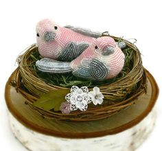 Pink Bird Wedding Cake Topper Beaded Love Bird Couple Spring Floral Twig Nest READY TO SHIP