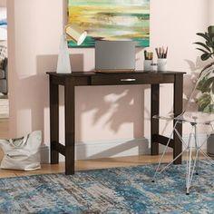 Andover Mills™ Ryker Standard Bookcase & Reviews | Wayfair Corner Writing Desk, Wood Writing Desk, Home Office Desks, Office Furniture, Solid Wood Desk, Large Desk, Desk Pad, Best Desk, Open Shelving