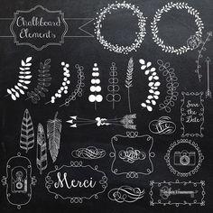 Chalkboard Elements and vectors by Verdigris Studios on @creativemarket