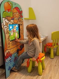 Magic Wall children touch screen play kiosk at doctors waiting room Interactive Touch Screen, Office Waiting Rooms, Doctor For Kids, Dental Kids, Master Bedroom Interior, Toddler Play, Child Life, Reading Nook, Dinosaur Stuffed Animal
