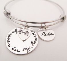 Pet Memorial Bracelet Gift - Forever in my Heart Necklace - Dog Remembrance - Pet Loss