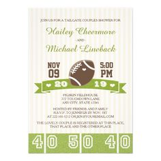 FOOTBALL TAILGATE COUPLES WEDDING SHOWER CARD.  $2.15