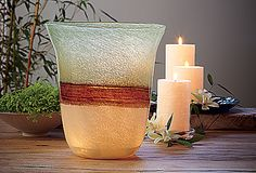 The unique layering of colors lends our mouth-blown glass vessel an artisan feel. Soothing earth tones shimmer with a peaceful quality when lit with a pillar candle or tealight tree : Tranqulity Hurricane by PartyLite Candles Online, Glass Vessel, Earth Tones, Colored Glass, Decoration, Pillar Candles, Tea Lights, Home Accessories, Planter Pots