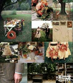 Warm fall inspired wedding color palette-rust, sage, brown, gold
