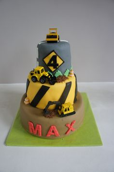 Construction cake for little Max, with his favorite trench diggers