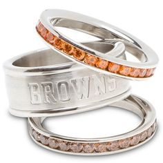 Logo Art Cleveland Browns Ladies Spirit Crystal Stacked Ring Set
