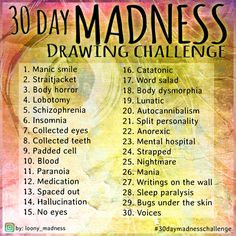 30 Day Madness Drawing Challenge by Loony-Madness.deviantart.com on @DeviantArt Drawing Meme, Drawing Prompt, Daily Drawing, Drawing Practice, Drawings Of Men, Dark Art Drawings, Sketchbook Challenge, 30 Day Drawing Challenge, Oc Challenge