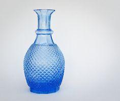 Cobalt Blue Diamond Point Cut Glass Decanter / Vase #DiamondPont #BlueGass #GlassDecanter @Olly Olly Oxen Free
