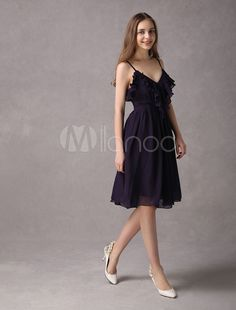 ba9258ed2a Short Bridesmaid Dresses Plum Chiffon Ruffles Spaghetti Strap Graduation  Dress  Plum