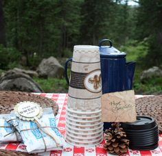 Hot chocolate would be a good inexpensive idea for the favor bags. One box could go farther, Cute wrapped in twine.