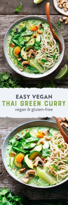 30-minute spicy green curry that is packed with fresh herbs like basil, cilantro, and mint. Served with noodles and stir-fried vegetables!