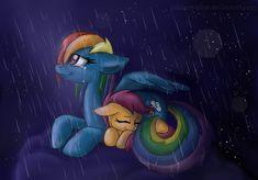 rainbow dash and scootaloo drawn by rainbowspine - Bronibooru Mlp Twilight, Princess Twilight Sparkle, Everything Will Be Ok, Mlp Comics, Mlp Fan Art, Rainbow Dash, Mlp Pony, My Little Pony Friendship, Snuggles