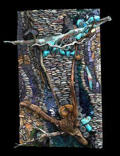 This is amazing art! Karen Klassen (Edmonton, AB) is a visual mixed media artist creating wall art & pocket art mosaics using organic and exotic materials from around the world. Pebble Mosaic, Wood Mosaic, Mosaic Wall Art, Glass Wall Art, Stained Glass Art, Pebble Art, Mosaic Glass, Glass Vase, Mosaic Crafts