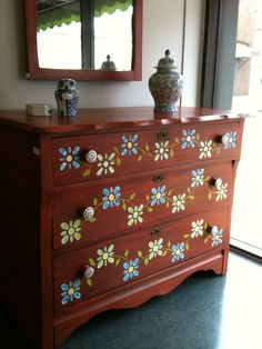 a small stencil can add some personality....Hand Painted Dresser by Carol Perkins and Chloe Watts
