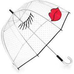Felix Rey Kissy Face Umbrella ($65) ❤ liked on Polyvore featuring accessories, umbrellas, umbrella, extra, other, felix rey, bubble umbrella, clear umbrella, felix rey umbrella and clear bubble umbrella