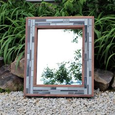 Grey Mirror  Wood and Tile  Bathroom Mirrors  Mosaic Frame