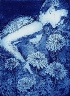 Fiona Watson. Gardening angel. Etching.