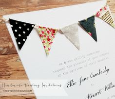 Handmade Bunting Wedding Invitations Set with RSVP by Tikety Boo Design, UK. Prices from per set. Wedding Invitations Uk, Wedding Stationery, Invitation Set, Invite, Stationery Design, Bunting, Rsvp, Handmade, Wedding Ideas