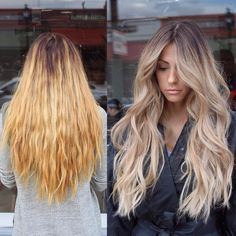 hair coloring, long haircut, blond, balayage, shatush, ombre # blond # ombre # balage