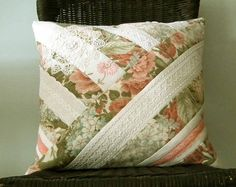 Pillow, Cushion, Vintage Sanderson Linen & Lace, Patchwork on Etsy, 438:12kr