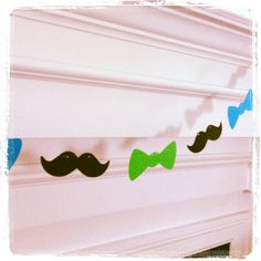 Mustache Garland Banner  Mustaches and Bow Ties  by TheManicMoose, $14.00