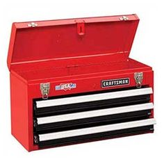 Tools stay organized and easy to find in three shallow drawers and a deeper storage area under the lid. Padlock hasp and staple enable chest to be locked (padlock not included). Shop Tool Boxes, Tool Boxes For Sale, Tool Box Storage, Garage Tool Organization, Storage Chest, Mechanic Tool Box, Mechanic Shop, Us General Tool Box, Messages