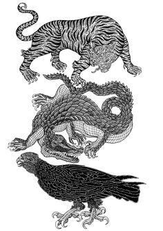 """Natural Selection"" original pen and ink drawing. Black Ink Tattoos, Skull Tattoos, Graffiti Characters, Tattoo Illustration, Korean Art, Wild Dogs, Traditional Tattoo, Tattoo Inspiration, Illustrators"