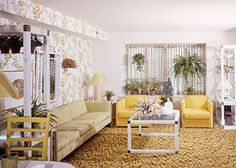 Houseplants have always been a part of people's homes, and monsteras aren't just for millennials—they've also seen their fair share of sunken living rooms, mall food courts, and midcentury modern. 1970s Living Room, Homes For Veterans, Home Improvement Show, Sunken Living Room, Tabletop Fountain, White Carpet, Wall Carpet, Indoor Plants, Indoor Gardening