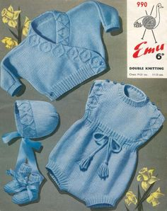 Vintage PDF Knitting Baby Patterns - Emu 990 - DK Crossover Cardigan Hat Bootees & Rompers 19-21ins