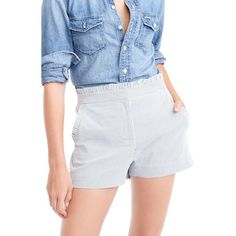 Women's J.crew Seersucker Ruffle Shorts (535 SEK) ❤ liked on Polyvore featuring shorts, blue white, j crew shorts, striped shorts, ruffle shorts, stripe shorts and flounce shorts