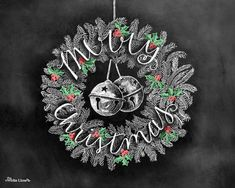 Christmas Art Christmas Wreath Merry Christmas by TheWhiteLime