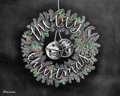 Christmas Art Christmas Wreath Merry Christmas por TheWhiteLime