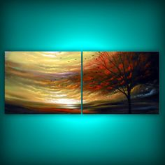 SALE  retro cloud painting tree painting large by mattsart on Etsy, $399.00