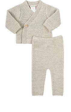 Mixed-Stitch Cardigan & Pants Set