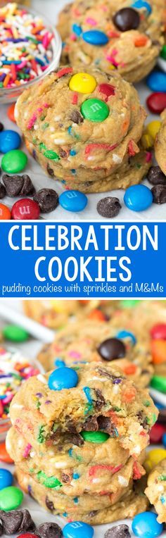 Celebration Pudding Cookies - this EASY pudding cookie recipe is filled with rainbow sprinkles and M