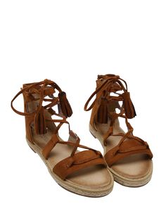 SHARE & Get it FREE | Tassels Lace Up Espadrilles Sandals - BrownFor Fashion Lovers only:80,000+ Items • New Arrivals Daily Join Zaful: Get YOUR $50 NOW!
