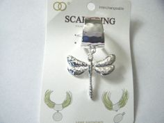 Dragonfly Pendant Scarf Ring Silver Tone Hammered Metal New In Package