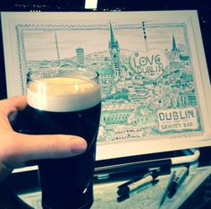Steve Simpson enjoys a pint of after completing this AMAZING in the - Guinness Storehouse, Visit Dublin, Print Design, Typography, Amazing, Illustration, Black, Letterpress, Letterpress Printing
