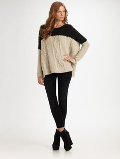 women's cable knit sweaters  COLOR BLOCKED | Vince Woolblend Colorblock Cableknit Sweater in Black (carbon) - Lyst  GET THIS LOOK FOR FALL.  ADD A POP OF COLOR.  I'D DO RED.
