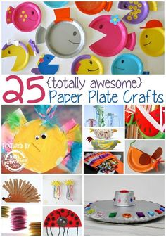 25 Paper Plate Crafts Kids Can Make... These 25 Paper Plate Crafts for Kids are fun and cheap. (Because, paper plates.) Try a couple with your kid today!