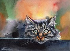 Print of Watercolor Painting Tabby Fluffy Cat Kitty Kitten Grey in the Garden Artwork Picture Art Wall Decor Gift