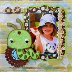 This is an animal scrapbook page idea with a worm theme. She is helping in the garden and found a worm. To learn how to make this layout, just go to my blog at Everyday Life Scrapbook 36 - Me and My Cricut