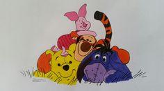 Peterplys og hans venner - Tegnet med blyant og derefter Malet med akryl