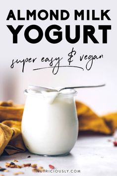 Almond Milk Yogurt, Make Almond Milk, Homemade Almond Milk, Vegan Yogurt, Homemade Yogurt, Homemade Lactose Free Yogurt Recipes, Yogurt Bowl, Milk Recipes, Dairy Free Recipes